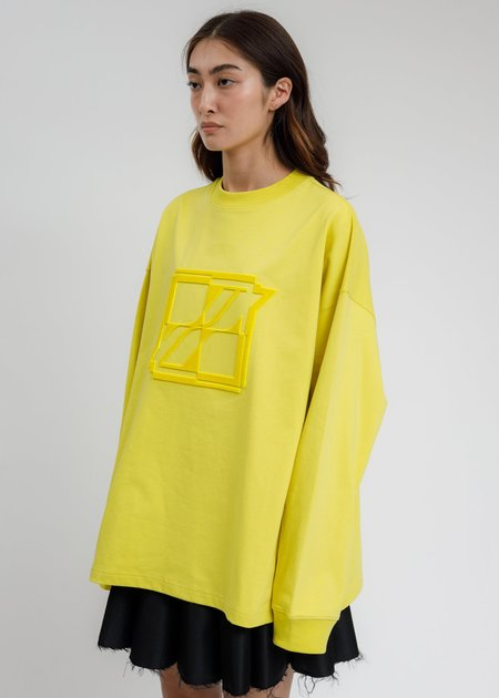 we11done New Logo Embroidered  Long Sleeve - Yellow