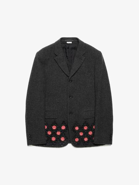 [Pre-Loved] Comme des Garcons Male Gray Wool Down Pink Detailed Jacket