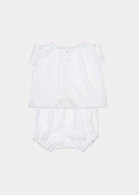 kids caramel Victorian Top And Bottom Set - White