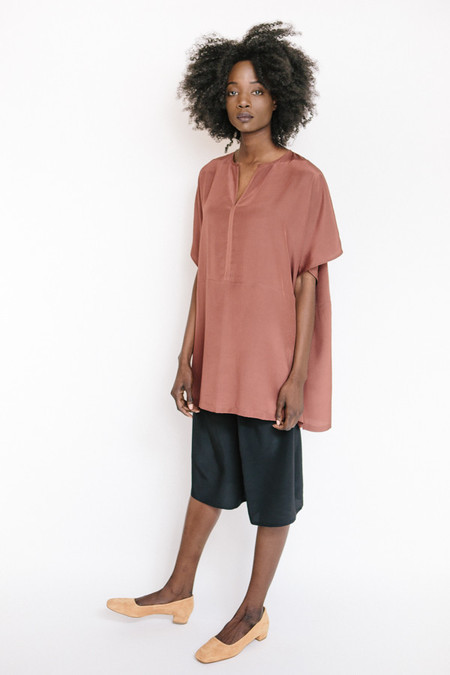 Revisited Matters Silk Poncho Top / Marsala
