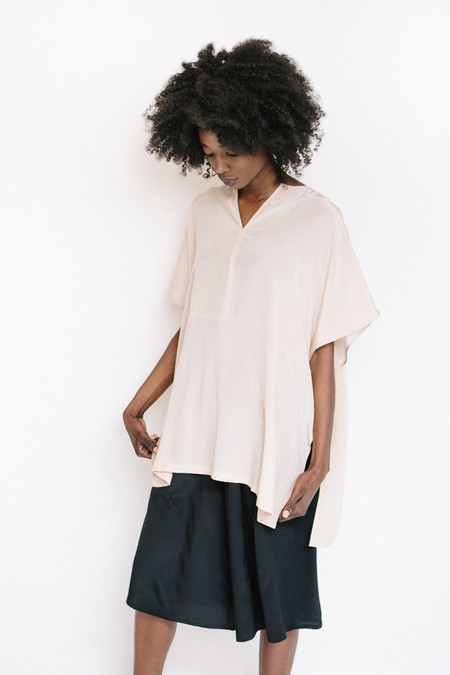 Revisited Matters Silk Poncho Top / Pink
