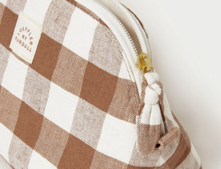 Loeffler Randall Mason Toiletry Pouch bag - Cream/Brown Gingham