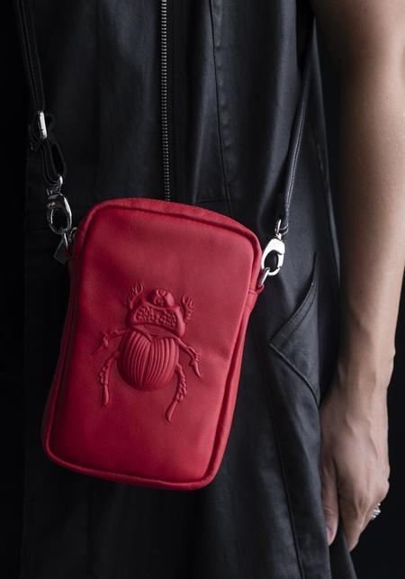 Gabriele Frantzen Scarab Embossed Leather Cross Body/Belt Bag - Tomato