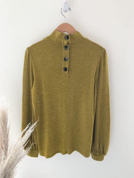Mabel and Moss Bridgette Chartreuse Long Puff Sleeve Top - kiwi green