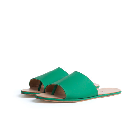 the palatines shoes caelum slide sandal - green super matte leather