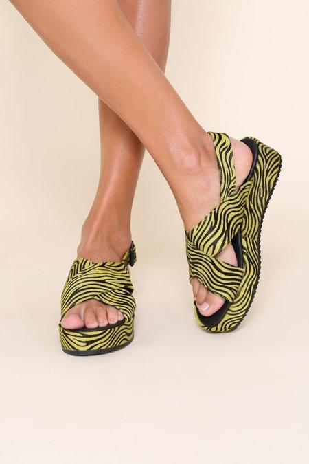 """INTENTIONALLY __________."" SUM sandals - Lime Zebra"