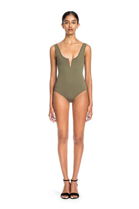 Beth Richards Ines One Piece - Khaki TANK ONE PC STYLE WITH V WIRE FRONT