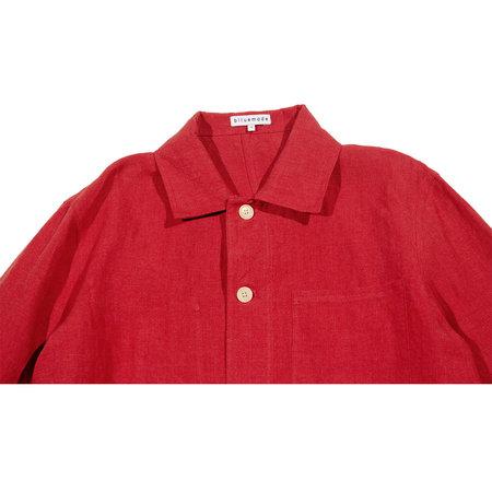 Unisex Blluemade Belgian Linen Chore Coat - Red