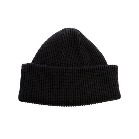 Homespun Knitwear Thermal Knit Bulky Waffle cap - Black