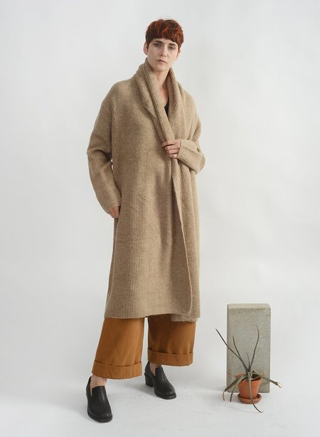 Meg Wide Shawl Long Cardigan - Camel