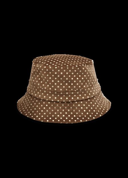 YMC Women's Cotton Velvet Dot Print Bucket Hat - Camel
