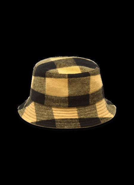 YMC Women's Wool Blend Check Bucket Hat - Black Yellow