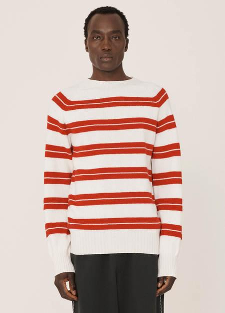 YMC Suedehead Fine Lambswool Stripe Crew Knitted Jumper - White Red