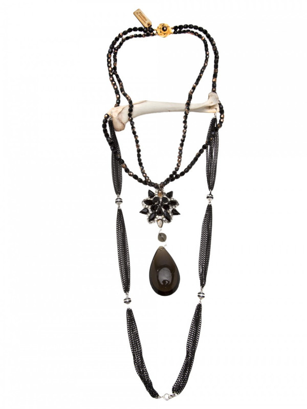 Purevile black bead drop necklace