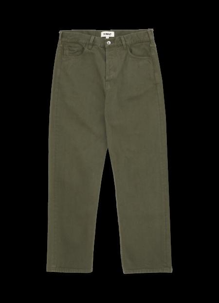 YMC Papa Organic Cotton Twill Jeans - Olive