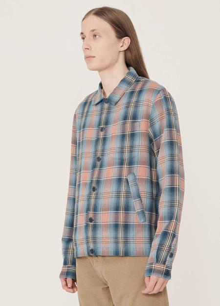YMC Bowling Cotton Fade Shadow Check Shirt - Blue Orange