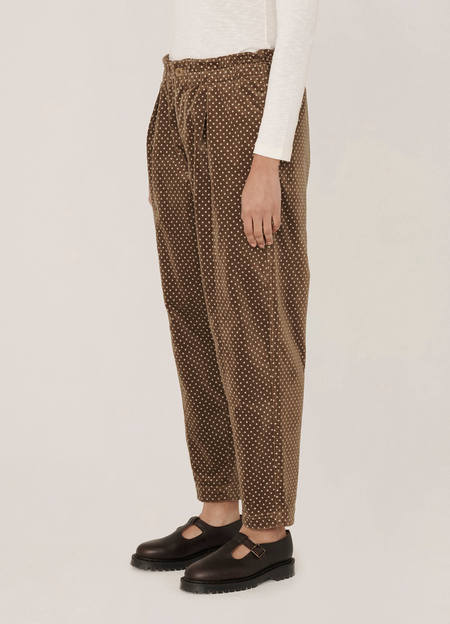 YMC  Dot Print Velvet Trousers - Camel