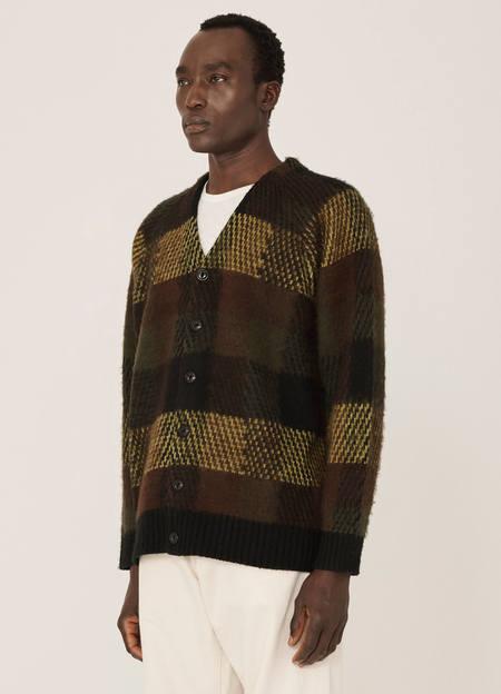 YMC Left Back Wool Blend Check Cardigan - Brown Multi