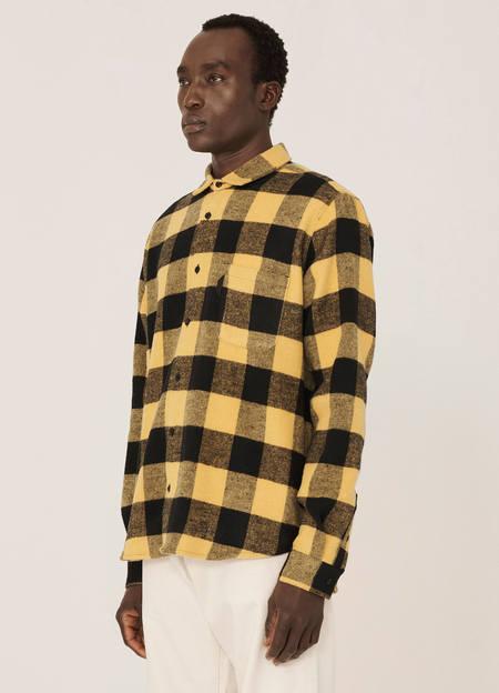 YMC Curtis Wool Blend Check Shirt - Black Yellow