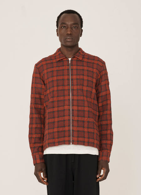 YMC Bowie Wool Check Shirt - Red Black