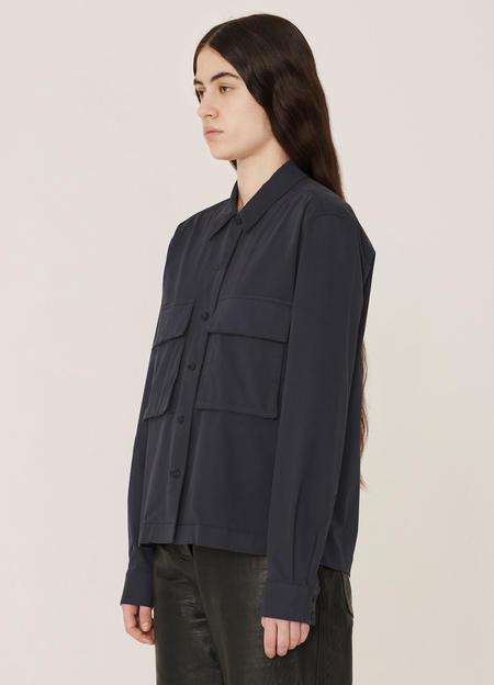 YMC Millie Cotton Garment Dye Stretch Shirt - Navy