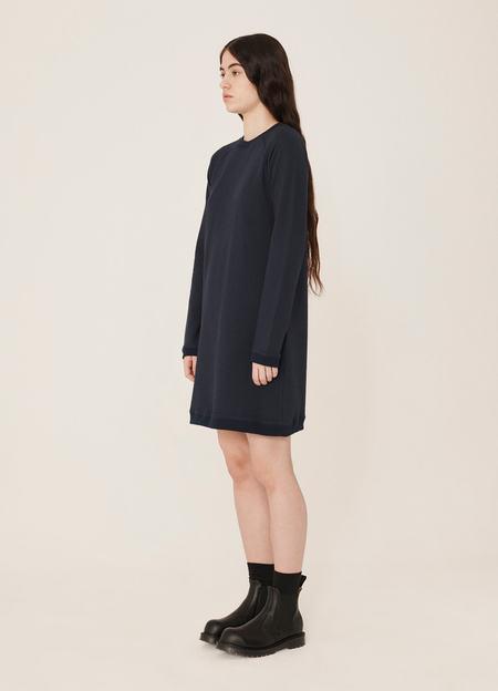 YMC Daisy Crepe Jersey Reverse Side Dress -  Navy