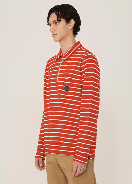 YMC Sugden Organic Cotton Lookback Stripe Sweatshirt - Red Ecru