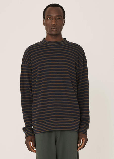 YMC Daisy Age Organic Cotton Waffle Stripe Sweatshirt - Navy Olive