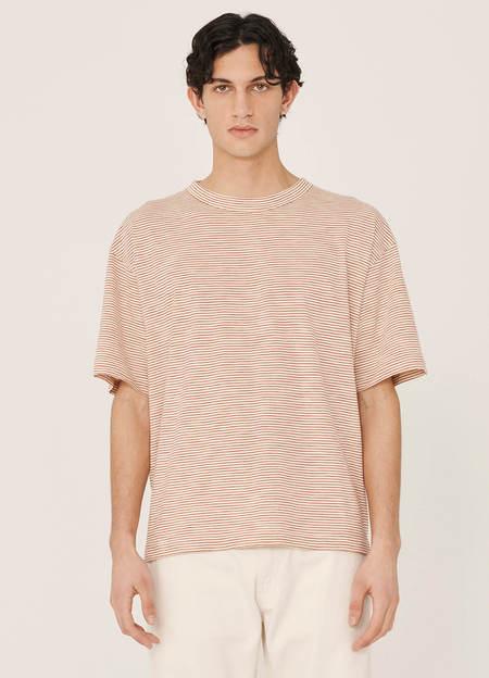 YMC Triple Organic Cotton Mini Stripe T Shirt - Ecru Red