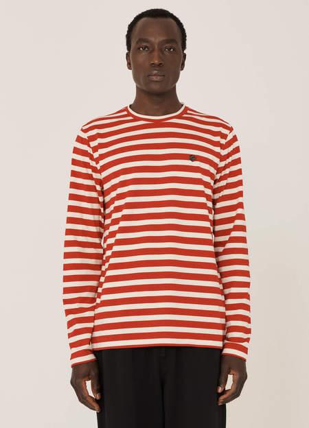 YMC Thurston Organic Cotton Stripe T Shirt - Red Ecru