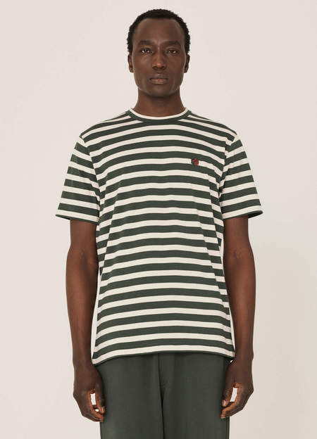 YMC Wild Ones Organic Cotton Stripe T Shirt - Green Ecru