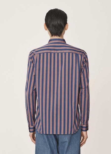 YMC Curtis Cotton Deck Stripe Shirt - Pink Blue