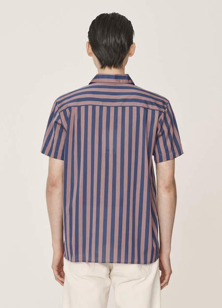 YMC Malick Cotton Deck Stripe Shirt - Pink Blue