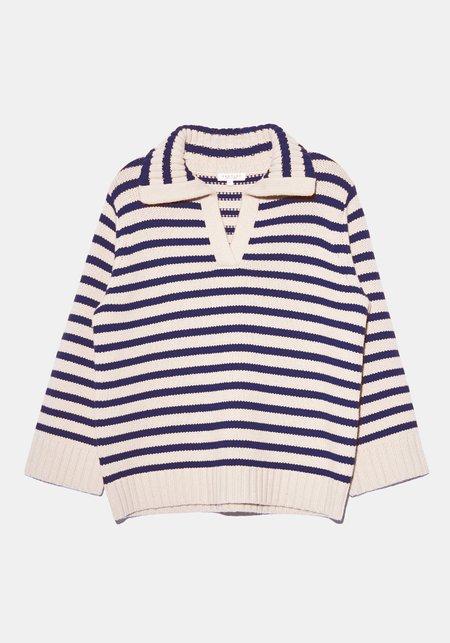 Demy Lee Ellie Striped Polo Sweater - Navy/Cream