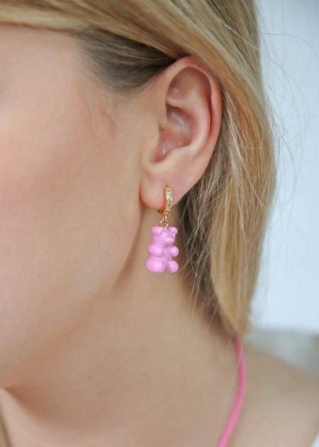 Nostalgia Bear Hoop Earring - Candy Pink