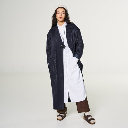 Girls of Dust Overcoat - Pinstripe Navy
