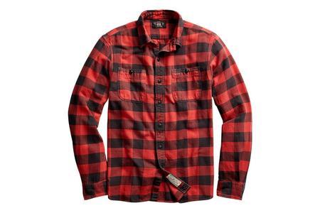 RRL Plaid Twill Workshirt - Red Black