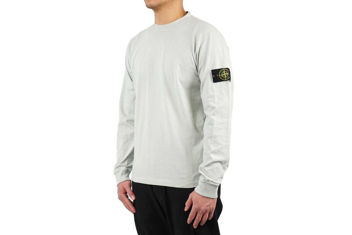 Stone island long sleeved t shirt cotton jersey pearl for Unique home stays jersey