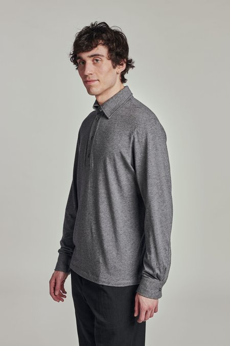AW 20/21 Long Sleeve Cashmere and Cotton Jersey Polo Shirt
