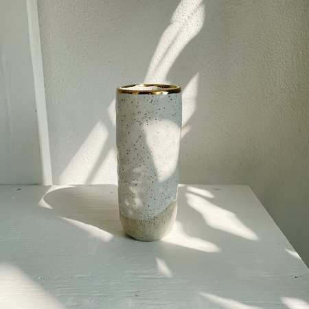 The Object Enthusiast Vase - Speckled White/Gold Rim