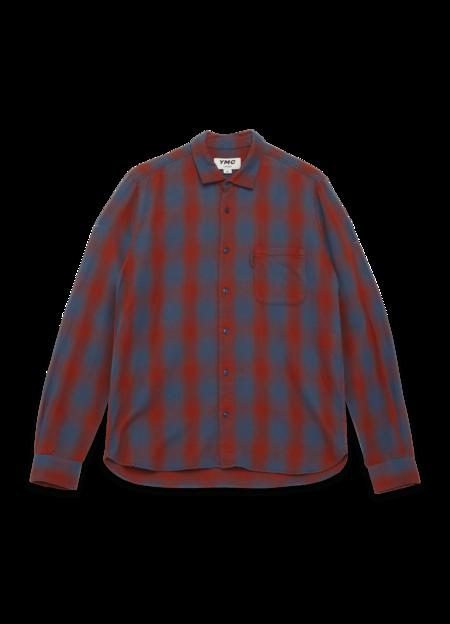 YMC Curtis Cotton Fade Shadow Check Shirt - Red/Blue