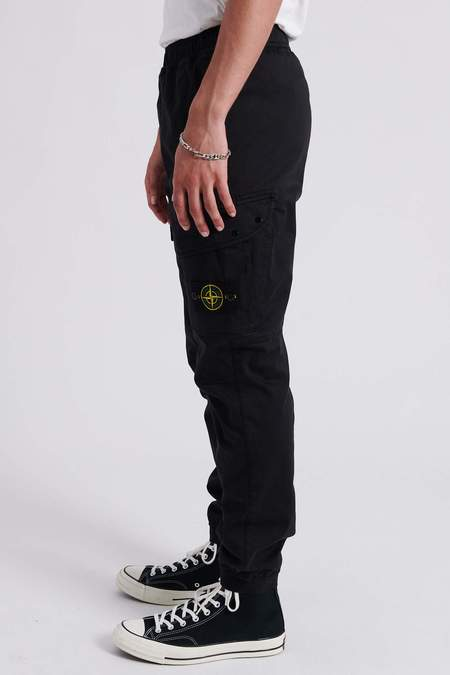 Stone Island Stretch Cotton Wool Satin Regular Fit Cargo Pants - Black