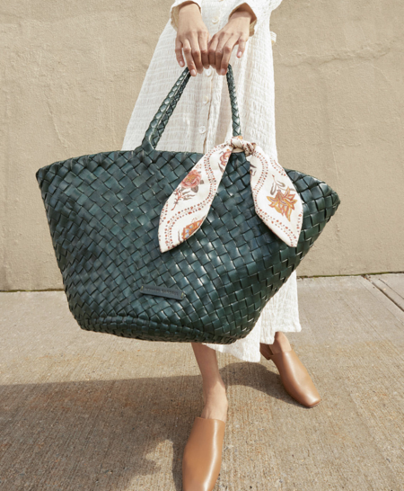 Loeffler Randall Kai Woven Leather Tote - Forest