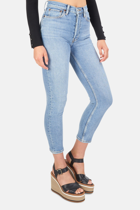 Women's Re/Done High Rise Ankle Crop Jeans - Mid
