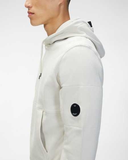 CP company Diagonal Raised Fleece Hooded Sweatshirt - Gauze White