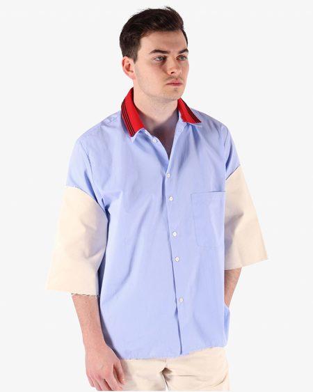 Camiel Fortgens 11.11.11 Research Double Collar Canvas/Cotton Short Sleeve Shirt - BLUE/WHITE