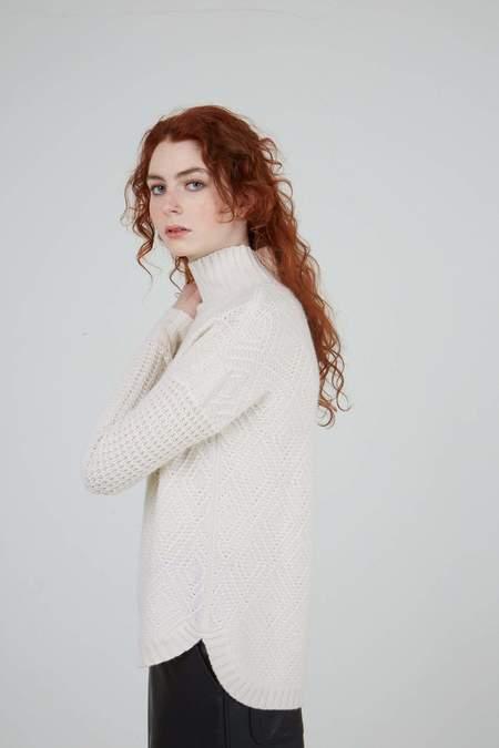 Autumn Cashmere Diamond Stitch Sweater - Chalk