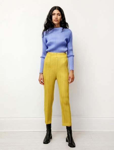 Pleats Please by Issey Miyake High Rise Mellow Pleats Pants - Yellow Ochre