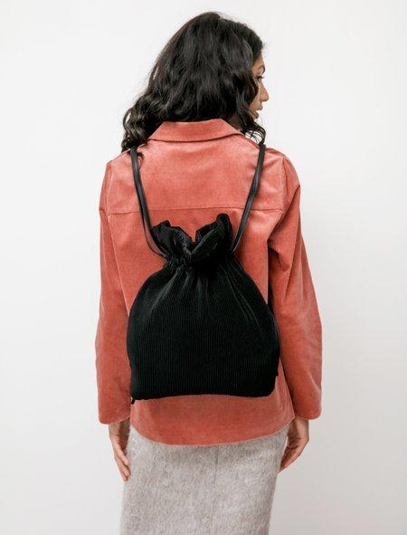Y's by Yohji Yamamoto Pleated Knapsack Bag - Black