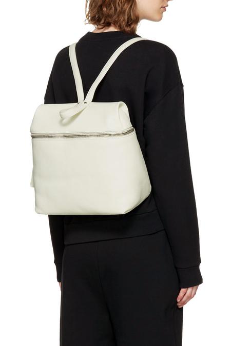 KARA Large Pebbled Leather Backpack - White